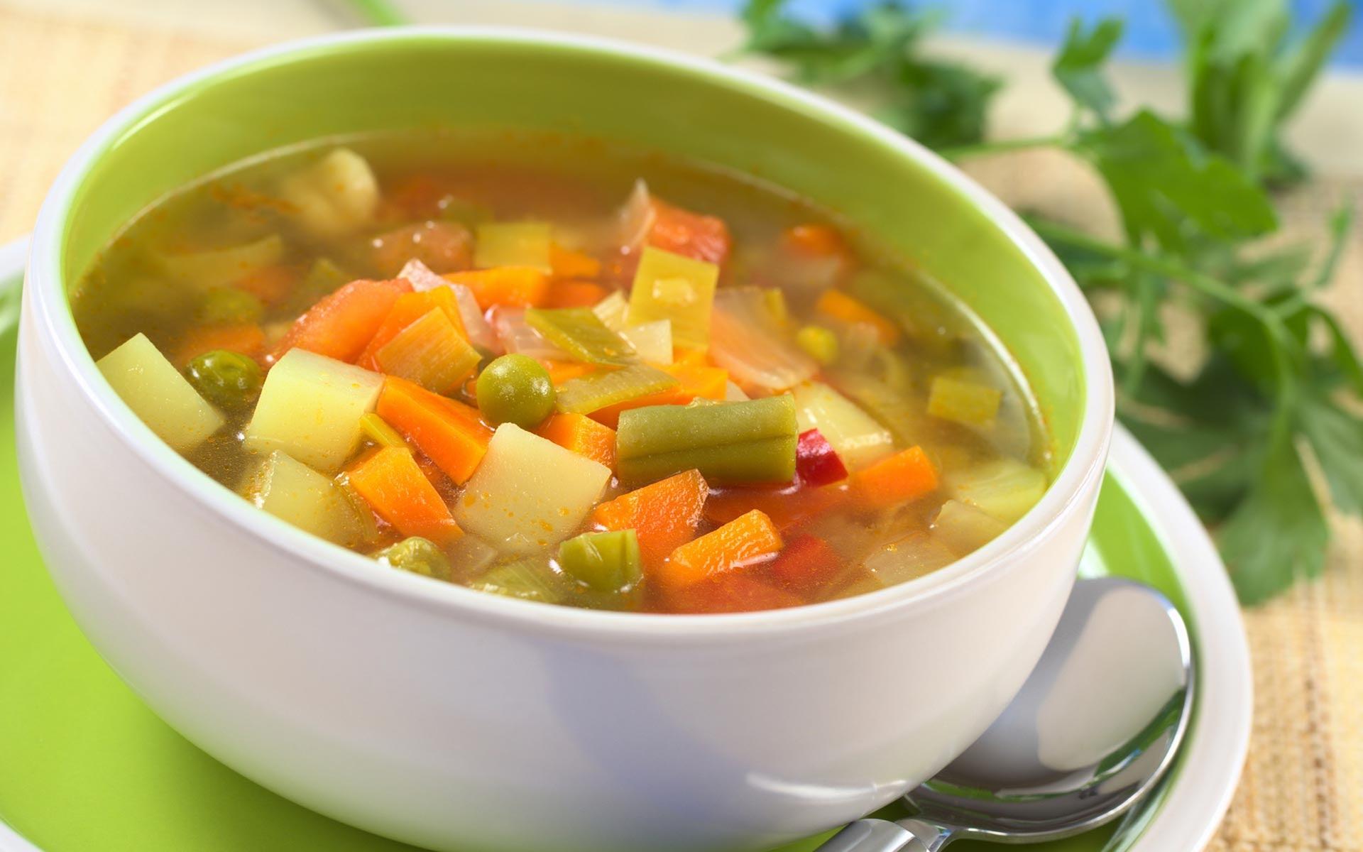 Vegetable soup (Овощной суп) - рецепт на английском с переводом