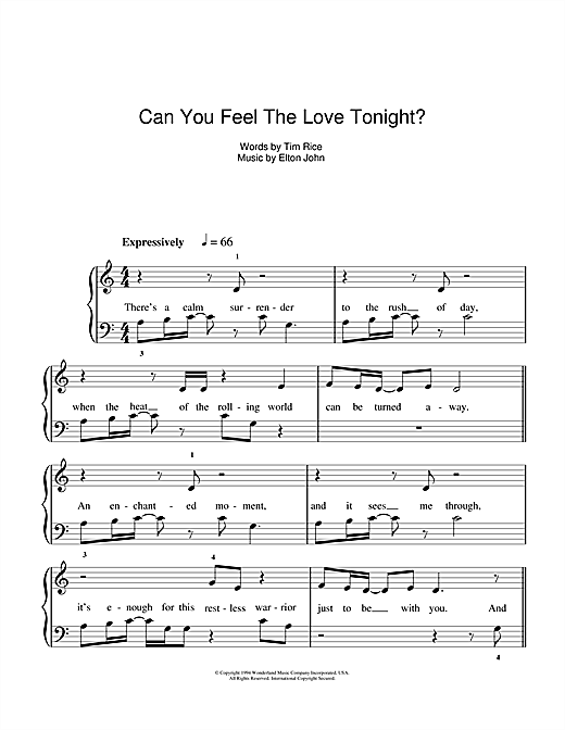 "Текст песни ""Can you feel the love tonight?"", исполнитель Elton John"